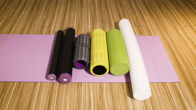Comparison shot of different sized foam rollers from the top